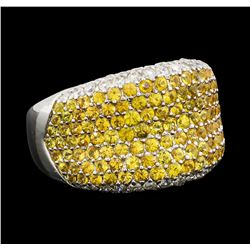 2.83 ctw Yellow Sapphire and Diamond Ring - 18KT White Gold