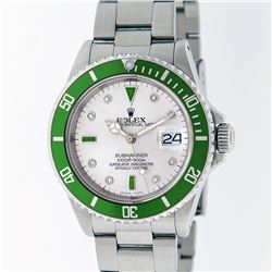 Rolex Stainless Steel Emerald and Diamond Submariner Men's Watch