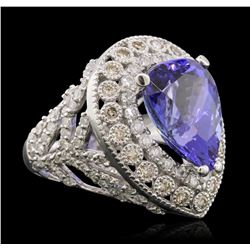14KT White Gold 9.78 ctw Tanzanite and Diamond Ring