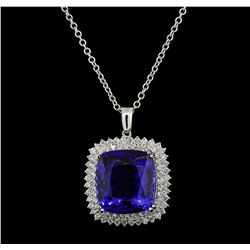 GIA Cert 40.78 ctw Tanzanite and Diamond Pendant With Chain - 14KT White Gold