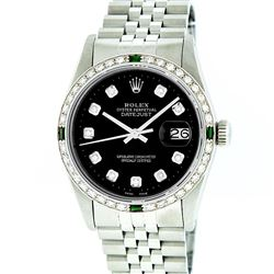 Rolex Stainless Steel Black Diamond and Emerald DateJust Men's Watch