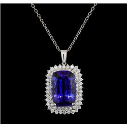 GIA Cert 29.02 ctw Tanzanite and Diamond Pendant With Chain - 14KT White Gold