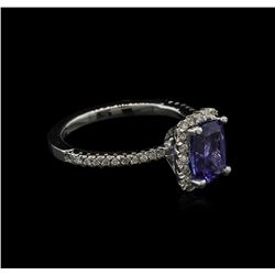 1.60 ctw Tanzanite and Diamond Ring - 14KT White Gold