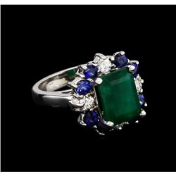 4.81 ctw Multi Gemstone and Diamond Ring - 14KT White Gold