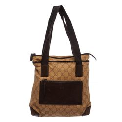 Gucci Brown Monogram Canvas Leather Trim Tote Handbag