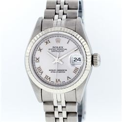 Rolex Stainless Steel Silver Roman DateJust Ladies Watch