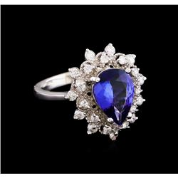 2.54 ctw Tanzanite and Diamond Ring - 14KT White Gold