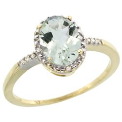 Natural 1.2 ctw Green-amethyst & Diamond Engagement Ring 10K Yellow Gold - REF-16H9W