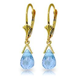 Genuine 4.5 ctw Blue Topaz Earrings Jewelry 14KT Yellow Gold - REF-22M7T