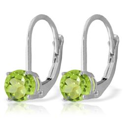 Genuine 1.20 ctw Peridot Earrings Jewelry 14KT White Gold - REF-23X2M