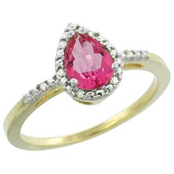 Natural 1.53 ctw pink-topaz & Diamond Engagement Ring 10K Yellow Gold - REF-18F9N
