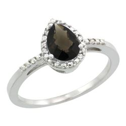 Natural 1.53 ctw smoky-topaz & Diamond Engagement Ring 10K White Gold - REF-18K9R