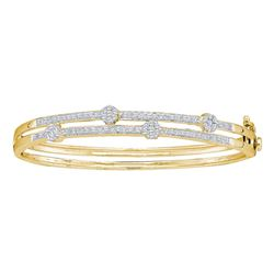 1 CTW Diamond Flower Cluster Bangle Bracelet 14KT Yellow Gold - REF-165M2H
