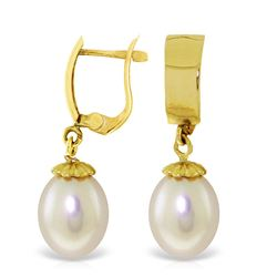 Genuine 8 ctw Pearl Earrings Jewelry 14KT Yellow Gold - REF-21M2T