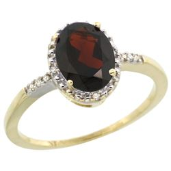 Natural 1.2 ctw Garnet & Diamond Engagement Ring 10K Yellow Gold - REF-17A6V