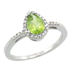 Natural 1.53 ctw peridot & Diamond Engagement Ring 10K White Gold - REF-18G9M