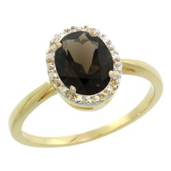Natural 1.22 ctw Smoky-topaz & Diamond Engagement Ring 10K Yellow Gold - REF-20W3K