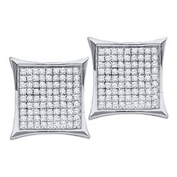 0.05 CTW Diamond Square Kite Cluster Stud Earrings 14KT White Gold - REF-7N4F