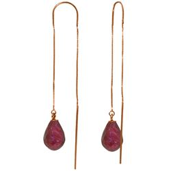 Genuine 6.6 ctw Ruby Earrings Jewelry 14KT Rose Gold - REF-20X8M