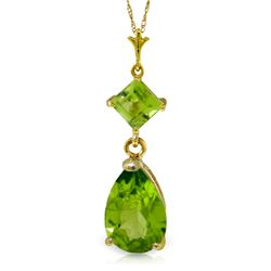 Genuine 2 ctw Peridot Necklace Jewelry 14KT Yellow Gold - REF-24X3M