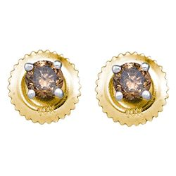 0.25 CTW Cognac-brown Color Diamond Solitaire Stud Earrings 10KT Yellow Gold - REF-10W5K