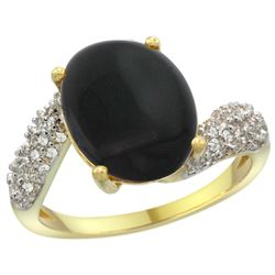 Natural 2.46 ctw onyx & Diamond Engagement Ring 14K Yellow Gold - REF-47G4M