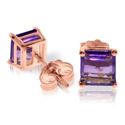 Genuine 1.75 ctw Amethyst Earrings Jewelry 14KT Rose Gold - REF-24P3H