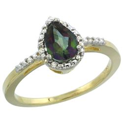 Natural 1.53 ctw mystic-topaz & Diamond Engagement Ring 10K Yellow Gold - REF-18H9W