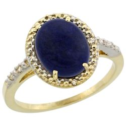 Natural 2.52 ctw Lapis & Diamond Engagement Ring 10K Yellow Gold - REF-23Z2Y