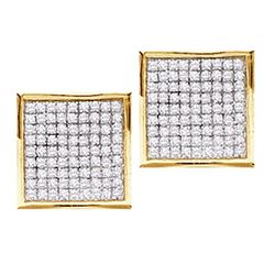 0.45 CTW Pave-set Diamond Square Cluster Earrings 10KT Yellow Gold - REF-18Y7X