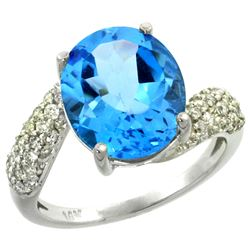Natural 6.45 ctw swiss-blue-topaz & Diamond Engagement Ring 14K White Gold - REF-54N3G