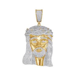 2.55 CTW Mens Diamond Jesus Christ Messiah Charm Pendant 10KT Yellow Gold - REF-179X9Y