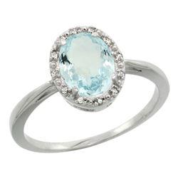 Natural 1.05 ctw Aquamarine & Diamond Engagement Ring 10K White Gold - REF-23W7K