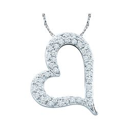 0.33 CTW Pave-set Diamond Heart Outline Pendant 14KT White Gold - REF-37H5M
