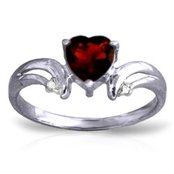 Genuine 1.26 ctw Garnet & Diamond Ring Jewelry 14KT White Gold - REF-42A2K
