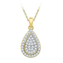 0.25 CTW Diamond Teardrop Cluster Pendant 10KT Yellow Gold - REF-24K2W