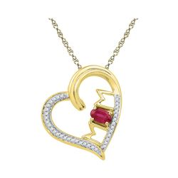 0.61 CTW Created Ruby & Diamond Heart Mom Mother Love Pendant 10KT Yellow Gold - REF-19Y4X