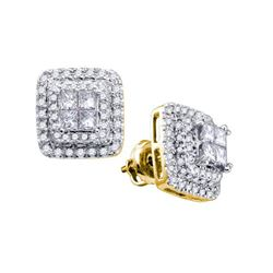 1 CTW Princess Diamond Square Cluster Earrings 14KT Yellow Gold - REF-119H9M