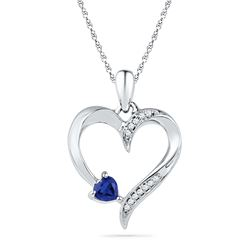0.04 CTW Created Blue Sapphire Heart Love Pendant 10KT White Gold - REF-13W4K