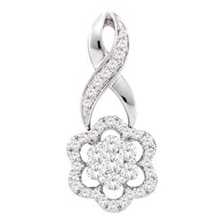 0.50 CTWDiamond Flower Cluster Pendant 14KT White Gold - REF-52Y4X