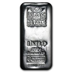 Genuine 1 kilo 0.999 Fine Silver Bar - Republic Metals Corp