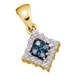 0.37 CTW Blue Color Diamond Cluster Pendant 10KT Yellow Gold - REF-34W4K