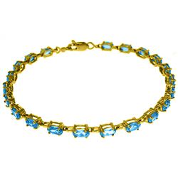 Genuine 5.5 ctw Blue Topaz Bracelet Jewelry 14KT White Gold - REF-96N4R