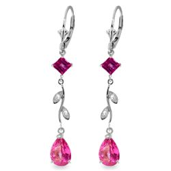 Genuine 3.97 ctw Pink Topaz & Diamond Earrings Jewelry 14KT White Gold - REF-46A2K