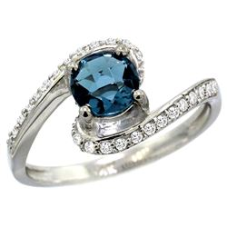Natural 1.24 ctw london-blue-topaz & Diamond Engagement Ring 10K White Gold - REF-42M8H