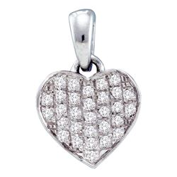 0.10 CTW Diamond Heart Love Pendant 10KT White Gold - REF-8M2H