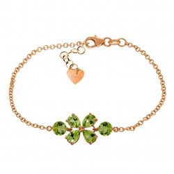 Genuine 3.15 ctw Peridot Bracelet Jewelry 14KT Rose Gold - REF-56R4P