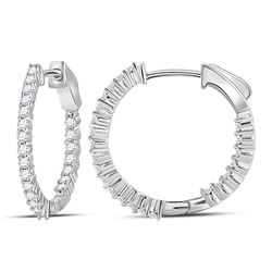 1.45 CTW Diamond Single Row Hoop Earrings 10KT White Gold - REF-101F2N