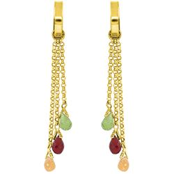 Genuine 4.9 ctw Garnet, Peridot & Citrine Earrings Jewelry 14KT White Gold - REF-43A6K