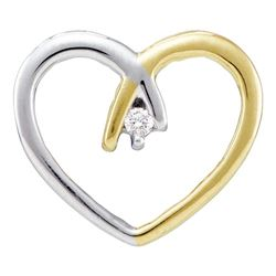 0.03 CTW Diamond Solitaire Heart Love Pendant 10KT Two-tone Gold - REF-8W9K